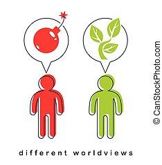 leur, vie, bon, afficher, différent, worldviews, deux, mauvais, croissant, destructeur, vecteur, bombe, mort, plante, esprits, constructive., petit, hommes, concept, exploser