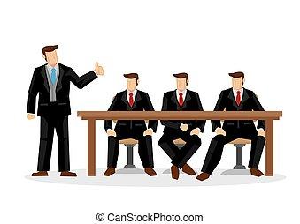 leur, work., dur, collaboration, illustration., appreciation., concept, éloge, vecteur, employeur, employee/staff, dessin animé