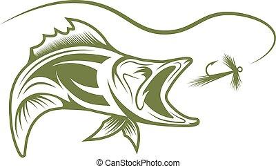 leurre, fish, vecteur, conception, gabarit, résumé