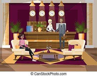 leute, an, der, hotelempfang, interior., zimmer, reservierung