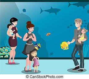 leute, aquarium, mit, kinder, anschauen, fische
