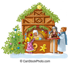 Leute auf dem Weihnachtsmarkt, Kind kauft Apfel