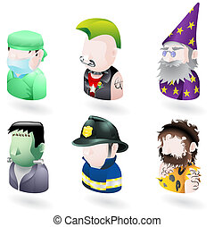 leute, avatar, internet, satz, ikone