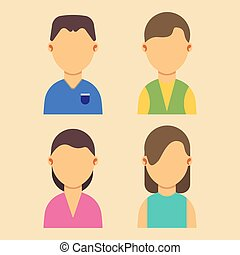 leute, avatar, männer frauen, charaktere, satz, wohnung, vektor, abbildung, design., web, karikatur, porträt