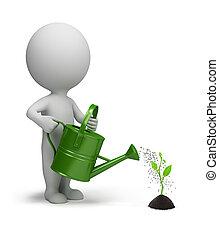 leute, bewässerung, -, keim, klein, 3d