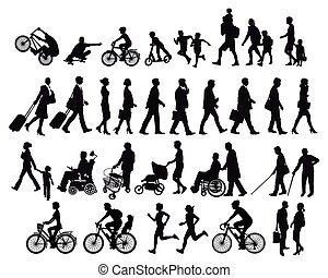 leute, bewegung, und, tätigkeiten