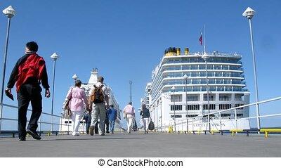 leute, brett, segeltörn, linienschiffe