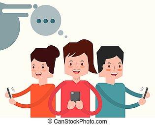leute, charaktere, mit, smartphone