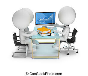 leute, diskussion, klienten, -, klein, 3d