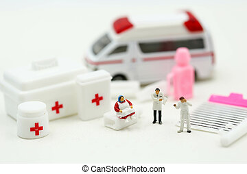 leute, doktor, beachten, krankenwagen, patient, miniatur, krankenwagen, sanitäter, medizinprodukt, begriff, :