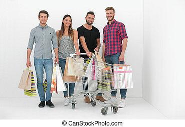 leute, einkaufstüten, junger, gruppe