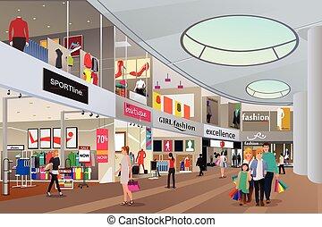 leute, einkaufszentrum, shoppen