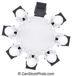leute, eins, stuhl, tisch., runder , leerer , 3d