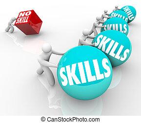 leute, fähigkeiten, geschickt, konkurrenz, unskilled, vs,...