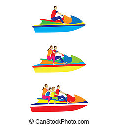 leute, familie, auf, a, düse, ski., wasser, sports.