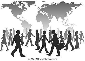 leute, global, spaziergang, silhouetten, welt, bevoelkerung