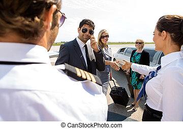 leute, gruß, flughafen, airhostess, korporativ, pilot