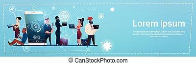 leute, gruppe, mit, zelle, klug, telefon, plaudern, sozial, vernetzung, kommunikation, begriff