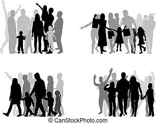 leute., gruppe, silhouetten, familie