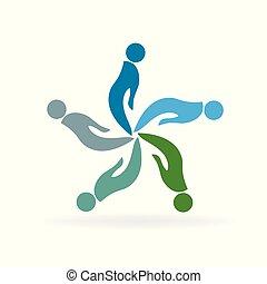 leute, helfende hände, logo