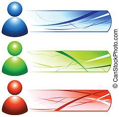 leute, ikone, banner, benutzer, internet