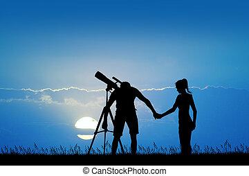 leute, innen schauen, der, teleskop
