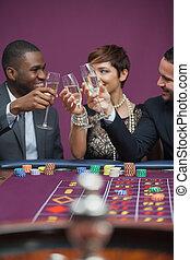 leute, kasino, drei, champagner, feiern