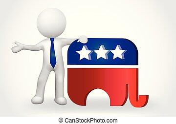 leute, klein, -, elefant, usa, 3d, symbol