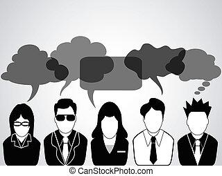 leute, kommunikation, mit, sprechblasen