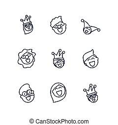 leute, lachender, karikatur, linie, fools, satz, stil, heiligenbilder, design, tag