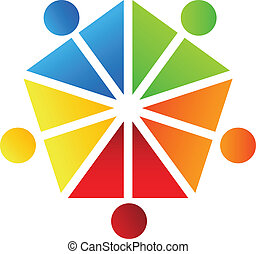 leute, logo, mannschaft, vektor, design