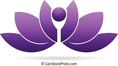 leute, lotos, joga, pflanze