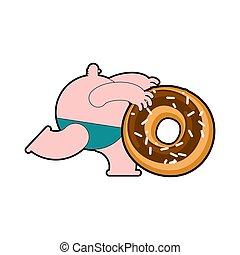 leute, maenner, dicker , rennender , donut., krapfen