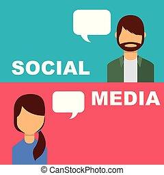 leute, medien, blase, sprechende , vortrag halten , sozial, banner
