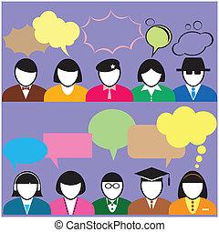 leute, mit, sprechblase, für, sozial, networking, und,...