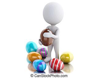 leute, ostern, hand., hält, weißes ei, 3d