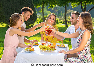 leute, picknick, park, gruppe, junger, klirren, haben, glasses., party, draußen