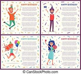 leute, plakat, feiern, geburtstagparty, glücklich
