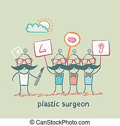 leute, plakate, aussehen, auge, gemalt, nase, ohr, plastik chirurg