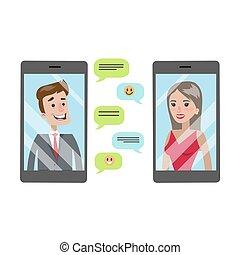 leute, plaudern, mit, smartphone.