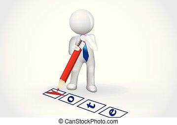 leute, prüfliste, symbol, -, klein, stimme, karte, 3d