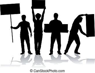 leute, protestieren, -, gruppe, bekundung