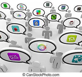 leute, reden, über, apps, besprechen, liebling, anwendungen