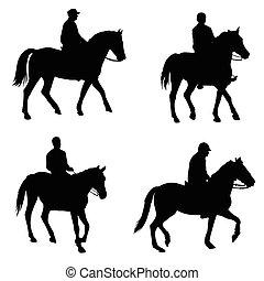 leute, reiten, pferden
