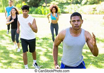 leute, rennender , für, fitness, in, der, p