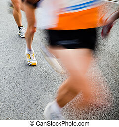 leute, rennender , in, stadt, marathon, -, bewegungszittern
