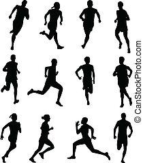 leute, rennender , silhouetten