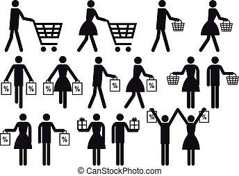 leute, satz, shoppen, vektor, ikone