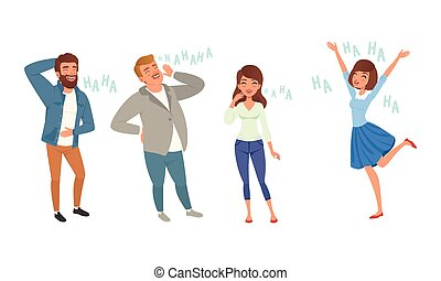 leute, satz, vektor, abbildung, stil, glücklich, positiv, karikatur, lachender, humor