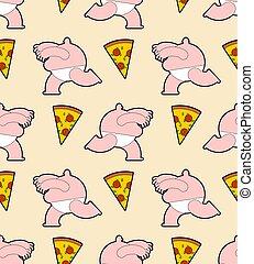 leute, seamless., muster, maenner, dicker , lebensmittel, rennender , schnell, hintergrund, pizza